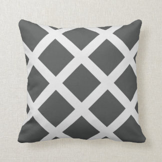 Modern Charcoal Gray and White Criss Cross Stripes Throw Pillows