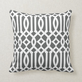 Modern Charcoal Gray and White Imperial Trellis Cushion