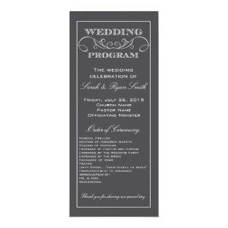 Modern Charcoal Gray Swirl Wedding Program 10 Cm X 24 Cm Invitation Card