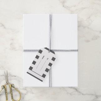Modern Charcoal Gray White Stripes Pattern Gift Tags