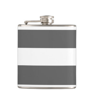 Modern Charcoal Gray White Stripes Pattern Hip Flask