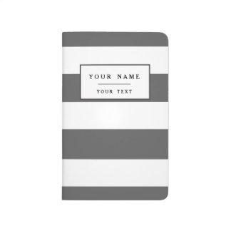 Modern Charcoal Gray White Stripes Pattern Journal