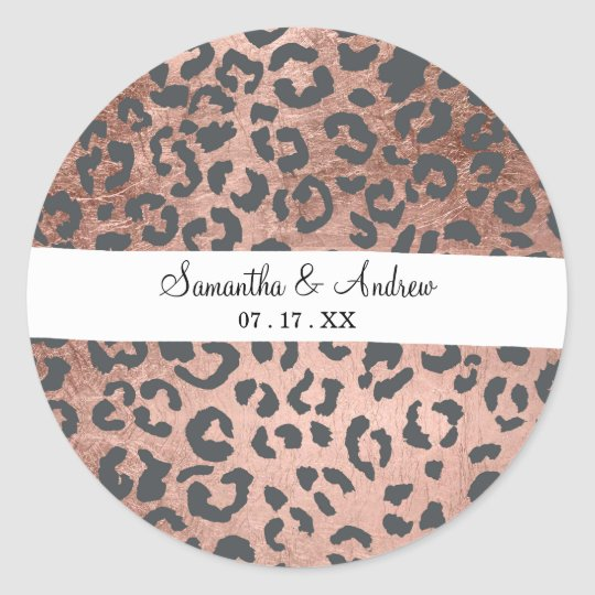 Modern charcoal grey rose gold leopard pattern classic