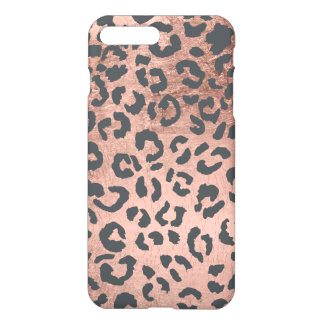 Modern charcoal grey rose gold leopard pattern iPhone 8 plus/7 plus case
