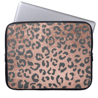 Modern charcoal grey rose gold leopard pattern laptop computer sleeves