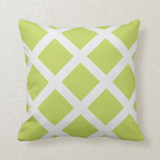 Modern Chartreuse and White Criss Cross Stripes Throw Pillows