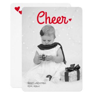 Modern Cheer Christmas Personalized Heart Photo 13 Cm X 18 Cm Invitation Card