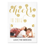 Modern cheers to 2015 gold New Year Groupon photo Custom Announcement