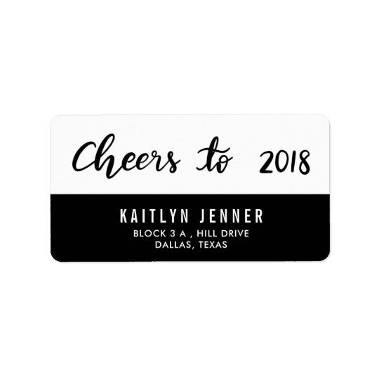 Modern Cheers To 2018 Typography Black And White Label