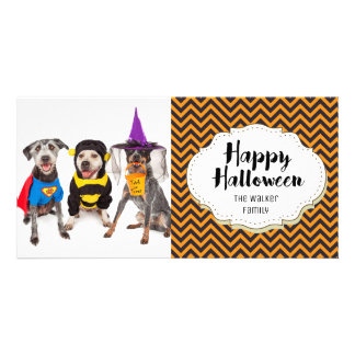 Modern Chevro Pattern Halloween Picture Photo Card