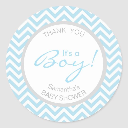 Modern Chevron Blue Grey It's a Boy Baby