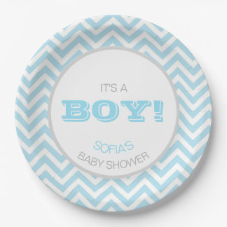Modern Chevron Blue Grey It's a Boy! Baby Shower Paper Plate