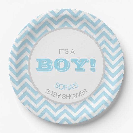Modern Chevron Blue Grey It's a Boy! Baby