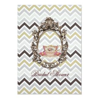 "modern chevron Bridal Shower Tea Party Invitation 5"" X 7"" Invitation Card"
