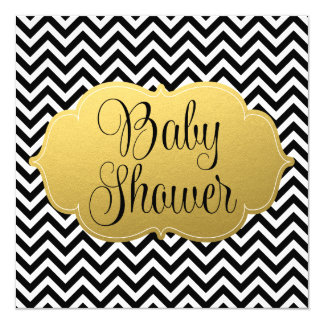 Modern Chevron Gold Black Baby Shower Card