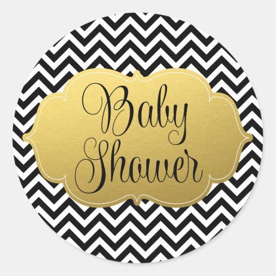 Modern Chevron Gold Black Baby Shower Classic Round