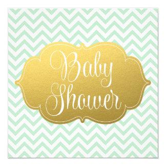 Modern Chevron Gold Mint Baby Shower Card