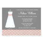 Modern Chevron Gown Coral Grey Bridal Shower Card