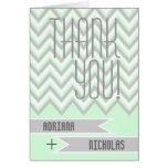 Modern chevron grey, mint green wedding Thank You Note Card