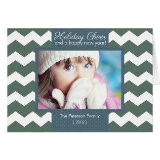 Modern Chevron Holiday Cheer Folded Christmas Greeting Card