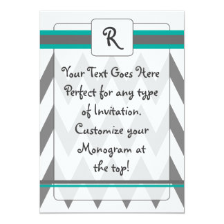 Modern Chevron invite with Monogram, teal and gray