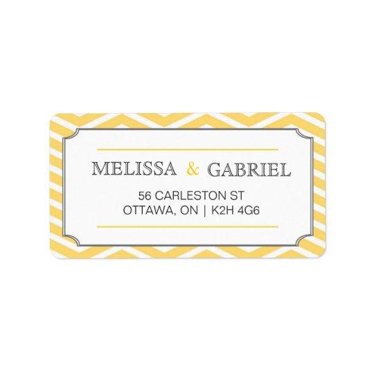 Modern Chevron Label Yellow Address Label