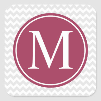 Modern Chevron Maroon Circle Monogram Stickers