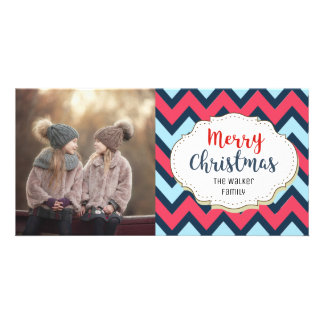 Modern Chevron Merry Christmas Picture Photo Card