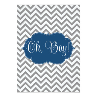 Modern Chevron Navy Blue Gray Boy Baby Shower 13 Cm X 18 Cm Invitation Card