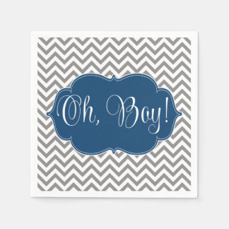 Modern Chevron Navy Blue Gray Boy Baby Shower Disposable Napkins