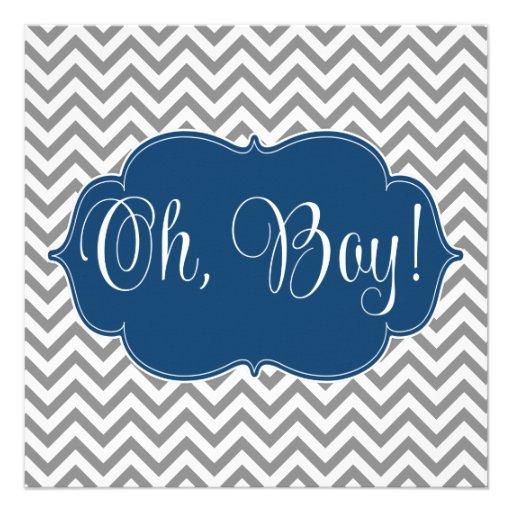 Modern Chevron Navy Blue Gray Boy Baby Shower Personalized Invite