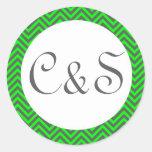Modern Chevron Neon Green/Grey Envelope Stickers