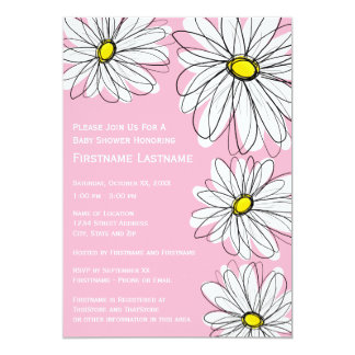 Modern Chevron pattern and daisy Baby Girl Shower 5x7 Paper Invitation Card