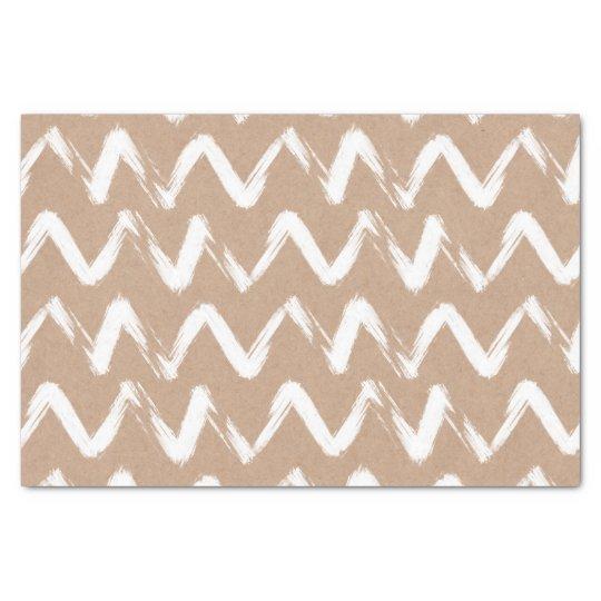 Modern chevron pattern faux brown kraft paper