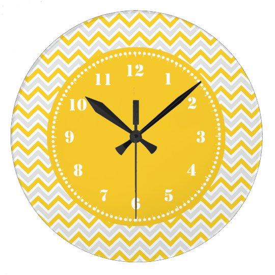 Modern Chevron Pattern Girly Yellow Large Clock
