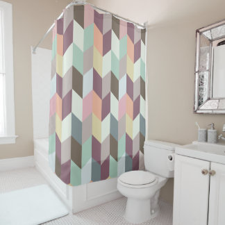 Modern Chevron Pattern Pastel Color Shower Curtain