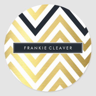 MODERN CHEVRON PATTERN trendy gold foil black Round Sticker