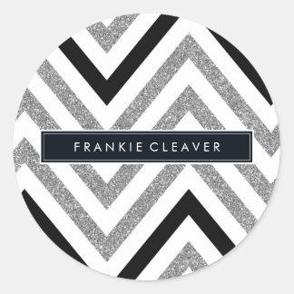 MODERN CHEVRON PATTERN trendy silver glitter black Classic Round Sticker