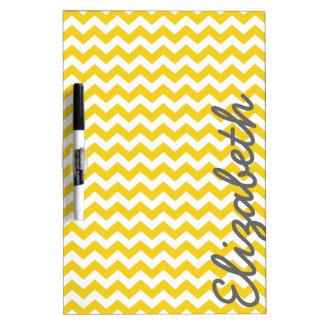 Modern Chevron Pattern with Name - Yellow Dry Erase Board