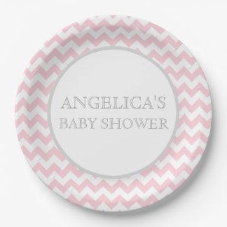 Modern Chevron Pink Grey / Gray Baby Shower Girl 9 Inch Paper Plate