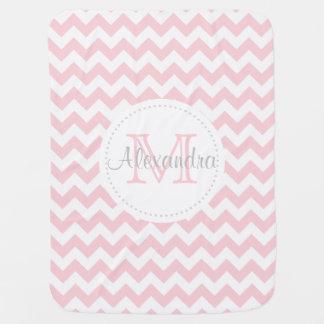 Modern Chevron Pink White Baby Blanket Keepsake