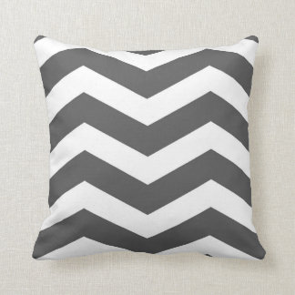 Modern Chevron Stripes in Charcoal Grey and White Cushion