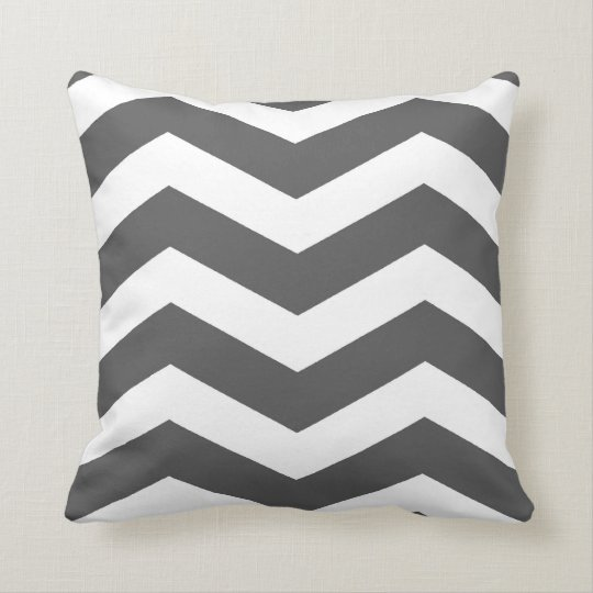 Modern Chevron Stripes in Charcoal Grey and White