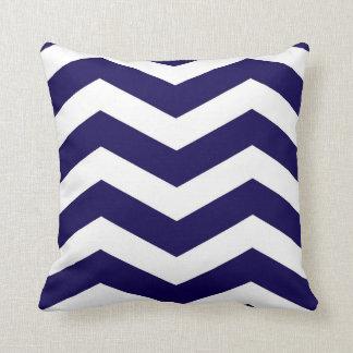 Modern Chevron Stripes in Cobalt Blue and White Cushion