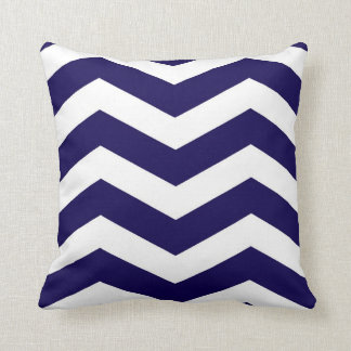 Modern Chevron Stripes in Cobalt Blue and White Throw Pillow