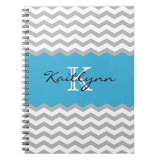 Modern Chevron Turquoise Accent Monogram Notebook