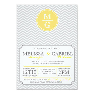 Modern Chevron Wedding Invitation Yellow