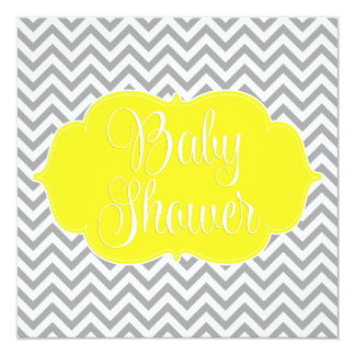 Modern Chevron Yellow Gray Baby Shower 13 Cm X 13 Cm Square Invitation Card