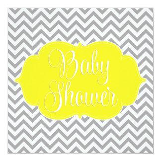 Modern Chevron Yellow Gray Baby Shower Card