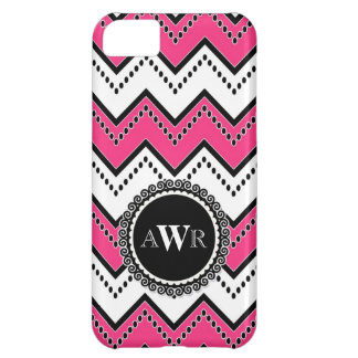 Modern Chevron Zig Zag Monogrammed  Stripe Oval iPhone 5C Case